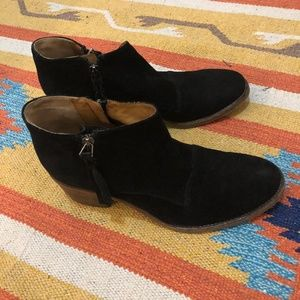 Black Suede Booties by Alberto Fermani - Wood Heel